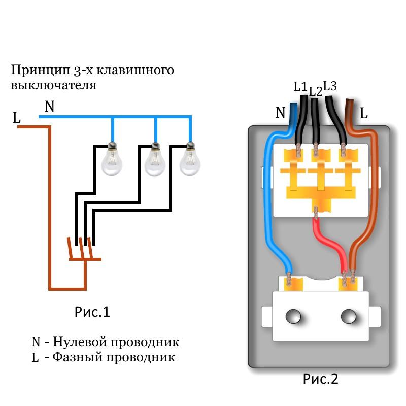 схема подключения трёхклавишного выключателя с розеткой